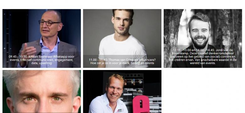 The Next Event keynotes: influencers, neuromarketing, eventtrends, data, gedragsverandering, van stoelen naar doelen en Jordi vd Bovenkamp...